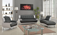 Contemporary Modern Leather Upholstered Living Room Sofa Set