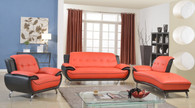 Contemporary Modern Leather Upholstered Living Room Sofa Set in Red and Black