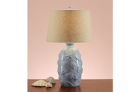 """SEASHELL STAMPED BASE LAMP 28"""" H (2 LAMPS)"""