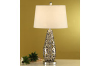 """TEAR DROP SHAPED ABSTRACT METAL FINISH TABLE LAMP 28""""H (2 LAMPS)"""