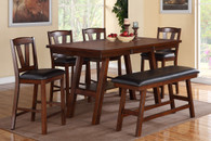 DARK WALNUT FINISH 5 PCS COUNTER HEIGHT DINING ROOM SET