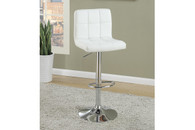 2PC WAFFLE WHITE FAUX LEATHER ADJUSTABLE BARSTOOL