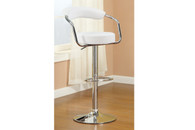 2PC BARBER STYLE WHITE FAUX LEATHER ADJUSTABLE BARSTOOL