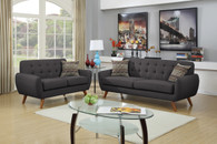 2 PCS SOFA SET RETRO STYLED ASH BLACK