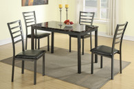5-PCS BLACK METAL MARBLE TOP DINING SET