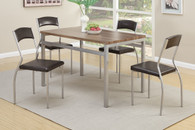 5-PC SQUARED SHAPED EARTHLY WOOD FINISH MATTE METAL DINETTE SET