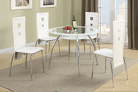 5-PCS WHITE 8MM TEMPERED GLASS TOP DINING ROOM SET