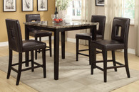 5PCS MARBLE LOOK FINISH DARK BROWN COUNTER HEIGHT TABLE SET WITH KEY-HOLE CHAIRS