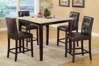 5-PIECES CREAM STONE TABLE TOP COUNTER HEIGHT DINING SET
