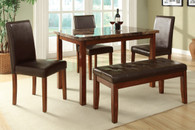 5-PIECES MARBLE FINISH TABLETOP BROWN FAUX LEATHER DINING ROOM SET