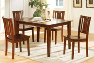 5-PCS RECTANGULAR DARK CHERRY FINISH DINING ROOM SET