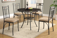 ROUND GLASS TABLETOP BLACK METAL 5PCS DINING ROOM SET
