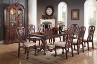 7-pcs RECTANGULAR SHAPED TABLE CHERRY WOOD FINISH FLORAL PATTERNS DINING ROOM SET