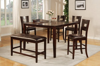 DARK BROWN FAUX LEATHER 6-PCS COUNTER HEIGHT SET