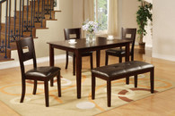 DEEP DARK BROWN HUE WOOD FINISH FAUX LEATHER 5-PCS DINING ROOM SET