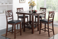 DIAMOND CUTOUT DESIGN FAUX LEATHER 7-PIECES COUNTER HEIGHT SET