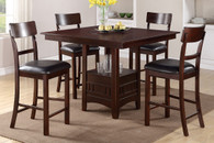 DARK ROSY BROWN FINISH ROUND SHAPED TABLETOP 5-PIECES COUNTER HEIGHT SET