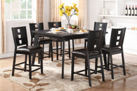 SIMPLE SQUARE SHAPED TABLE DESIGN RICH DARK BROWN 7-PIECES COUNTER HEIGHT SET