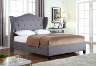 CLOE UPHOLSTERED WINGED HEADBOARD PLATFORM BED FRAME