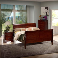 CHERRY BROWN LOUIS PHILLIP 5PCS BEDROOM SET WITH MATTRESS AND BOX SPRING