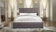 CADMUS Tufted Charcoal Queen Size Bed (Low Profile Boxspring or Bunkie Board Required)