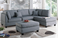 3 PCS SECTIONAL SOFA WITH OTTOMAN IN GRAY FABRIC