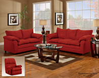 VICTORY LANE REDROCK MICRO-SUADE UPHOLSTERY  2 PCS SOFA AND LOVESEAT - 1150RE