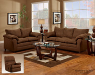 VICTORY LANE CHOCOLATE MICRO-SUADE UPHOLSTERY  2 PCS SOFA AND LOVESEAT - 1150CH