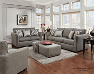 WASHINGTON 2PC SOFA LOVESEAT SET (CHARCOAL) - 1380CH