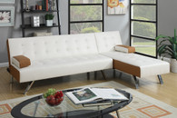 ACCENT TUFTED SECTIONAL ADJUSTABLE SOFA BED IN WHITE