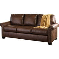 BROWN LEATHER QUEEN SIZE SLEEPER SOFA WITH MATTRESS
