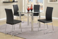 5 PCs Modern Round Dining Table Set in Black