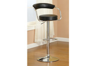 2PC BARBER STYLE BLACK FAUX LEATHER ADJUSTABLE BARSTOOL
