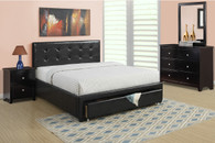 QUEEN BED W/UNDERBED DRAWER IN BLACK