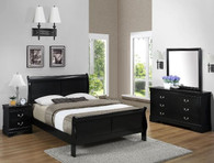 Louis Phillip 6pcs Bedroom Set in Black Color