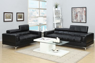 2PC SOFA AND LOVESEAT SET BLACK W/ ADJUSTABLE HEAD-REST