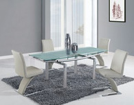 SILVER AND BEIGE CONTEMPORARY 5 PCS DINING ROOM SET