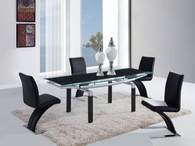 SILVER AND BLACK CONTEMPORARY 5 PCS DINING ROOM SET