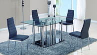 Stainless/ Black Base Dining Table and 4 Chairs in Black