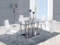 Stainless/ White Base Dining Table and 4 Chairs in White