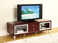TV Stand Entertainment Console In Contemporary Mahogany Finish