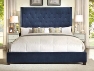 REESE SUPER STYLISH UPHOLSTERED BED IN NAVY - 5286-navy