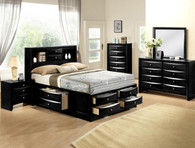 Emily Bookcase Storage Complete Bedroom Set in Black
