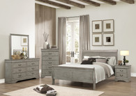 Louis Phillip 7Pcs Bedroom Suite - Grey