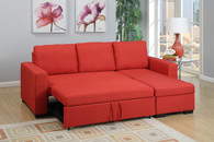 2PC CONVERTIBLE SECTIONAL w/PULL-OUT BED IN CARMINE LINEN