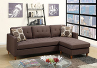 2PC REVERSIBLE SECTIONAL w/PILLOWS IN CHOCOLATE