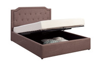 Brown Upholstered Encased Bed Frame (Underneath Storage)
