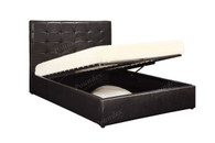 Black Faux Leather Upholstered Encased Platform Bed  (Underneath Storage)