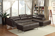MODERN WIDE PLUSH SEATING 2 PCS SECTIONAL IN ESPRESSO (STORAGE ON CORNER BACK)