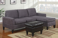 REVERSIBLE SECTIONAL W/OTTOMAN UPHOLSTERED IN GREY MICROFIBER